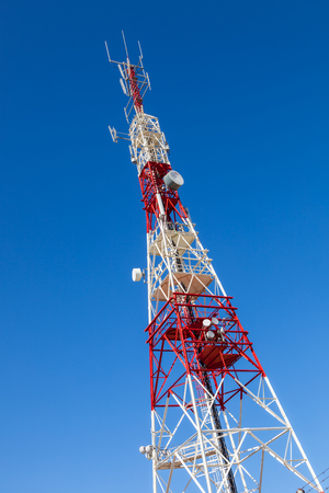 Communications tower with a beautiful blue sky on Puerto Real, Cadiz, Spain 版權商用圖片