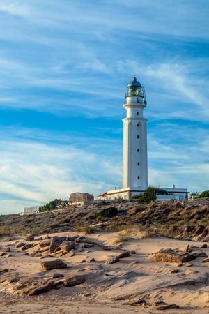 Wonderful lighthouse known as Trafalgar's lighthouse at the province of Cádiz Banque d'images