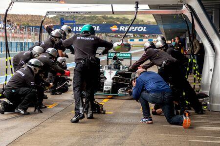 JEREZ DE LA FRONTERA, SPAIN - FEB 03:  Nico Rosberg of Mercedes AMG Petronas F1 entering to pitson training session on February 03 , 2015, in Jerez de la Frontera , Spain Editorial