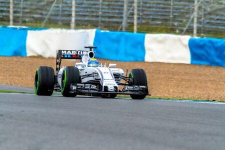 JEREZ DE LA FRONTERA, SPAIN - FEB 03: Felipe Massa of Williams Martini Racing F1 Team races on training session on February 03 , 2015, in Jerez de la Frontera , Spain