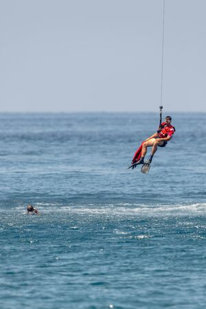 MOTRIL, GRANADA, SPAIN-JUN 11: Military rescue diver taking part in an exhibition on the 12th international airshow of Motril on Jun 11, 2017, in Motril, Granada, Spain Editorial