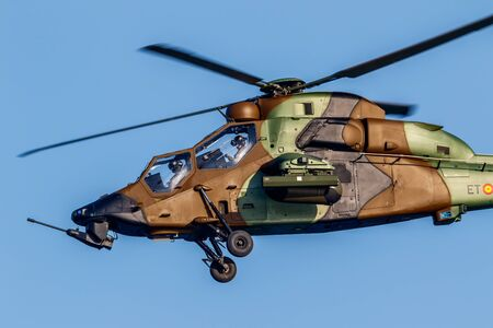 TORRE DEL MAR, MALAGA, SPAIN-JUL 29: Helicopter Eurocopter EC665 Tiger taking part in a exhibition on the 2nd airshow of Torre del Mar on July 29, 2017, in Torre del Mar, Malaga, Spain