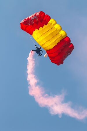MOTRIL, GRANADA, SPAIN-JUN 11: Parachutist of the PAPEA taking part in an exhibition on the 12th international airshow of Motril on Jun 11, 2017, in Motril, Granada, Spain Editorial