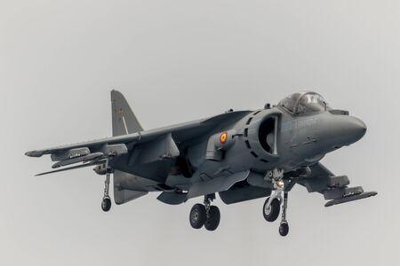 MOTRIL, GRANADA, SPAIN-JUN 09: Aircraft AV-8B Harrier Plus taking part in an exhibition on the 12th international airshow of Motril on Jun 09, 2017, in Motril, Granada, Spain