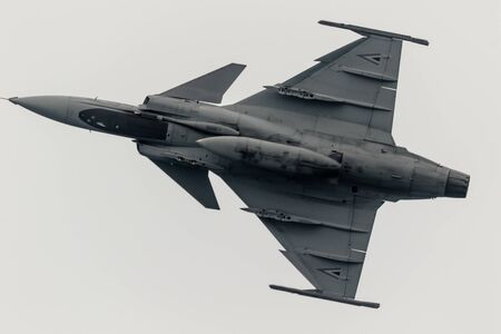 MOTRIL, GRANADA, SPAIN-JUN 10: Aircraft Saab Jas 39 Grippen taking part in a exhibition on the 12th international airshow of Motril on June 10, 2017, in Motril, Granada, Spain