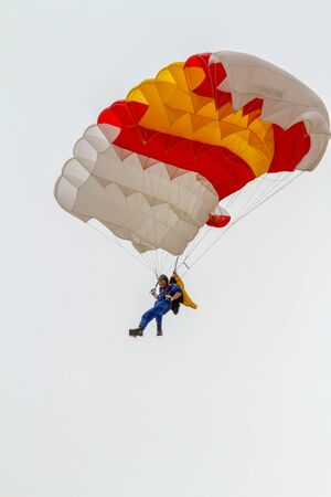 TORRE DEL MAR, MALAGA, SPAIN-JUL 31: Parachutist of the PAPEA taking part in a exhibition on the 1st airshow of Torre del Mar on July 31, 2016, in Torre del Mar, Malaga, Spain