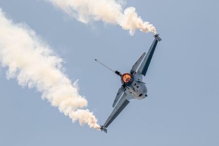 TORRE DEL MAR, MALAGA, SPAIN-JUL 30: Aircraft F-16 Belgian solo display taking part in a exhibition on the 2nd airshow of Torre del Mar on July 30, 2017, in Torre del Mar, Malaga, Spain Redakční