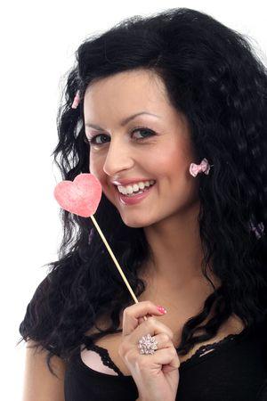 Lady doll with heart lollipop