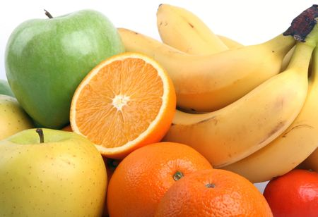 Group of fruits: orange, apple, bananas and a tangerine