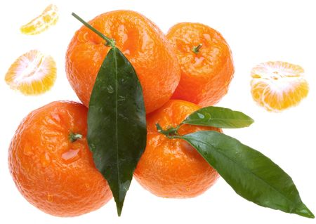 Tangerines with green leaves Stock Photo