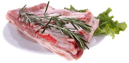 Raw ribs with rosemary Stock Photo