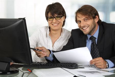 smiling business people working Stock Photo - 5127335