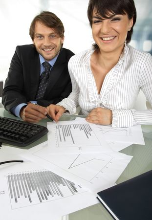 two smiling business people photo