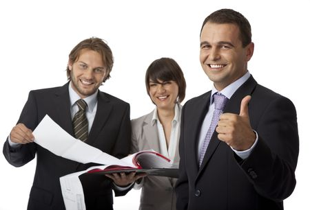 three happy businesspeople isolated on white, thumb up