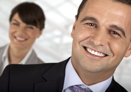 close-up of a male smiling in front of a female Stock Photo