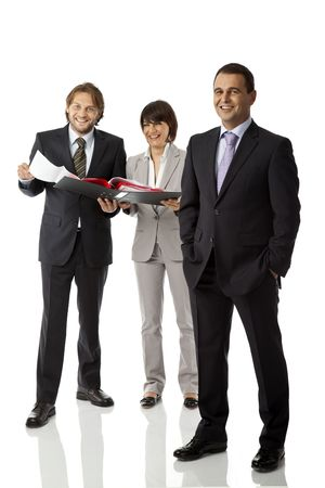 three businesspeople isolated on white smiling, looking at camera
