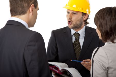 angry contractor is discussing a plan with investors, isolated Stock Photo