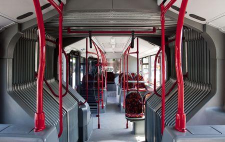 interior of a public bus, no body