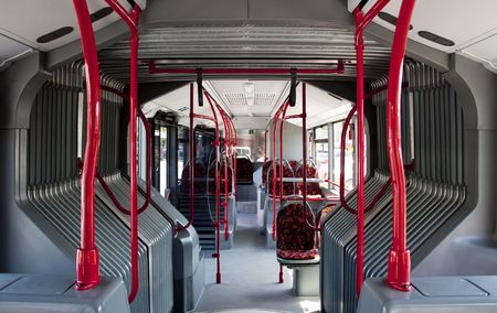 seating: interior of a public bus, no body