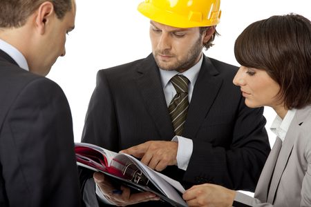 contractor and investors are discussing over plans, isolated Stock Photo