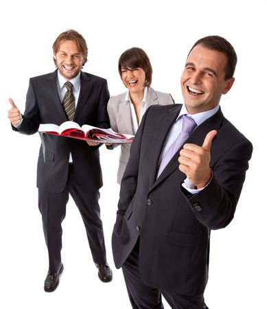 three happy businesspeople isolated on white, thumbs up, vertical Stock Photo