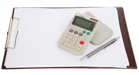 calculator, pen and a blank sheet of paper on a clipboard, isolated Stock Photo