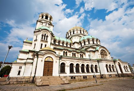 side view of svety Alexander Nevsky cathedral in Sofia