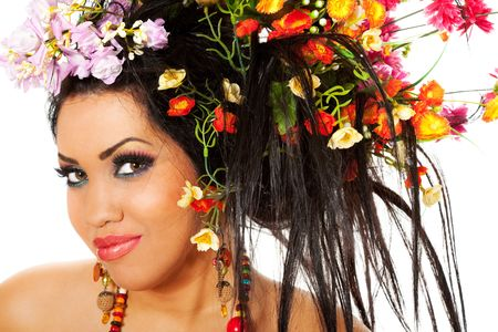portrait of a beautiful female with flowers in her hair