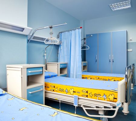 health care facility: new and modern rehabilitation hospital chamber with beds