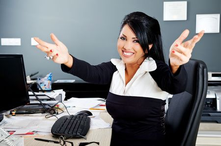 happy hispanic business person opening her arms for a hug