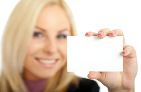 positive blond female out of focus presenting blank businesscard photo