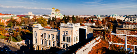 aleksander: A view of downtown Sofia, Bulgaria, golden domes of st. Aleksander Nevski cathedral are seen. Stock Photo