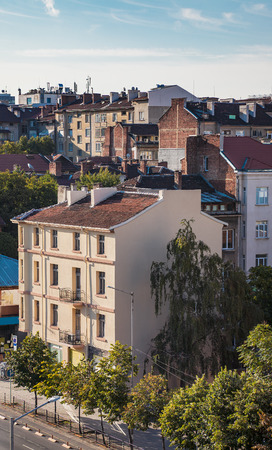 downtown capitol: Aerial view of old roofs and buildings in downtown Sofia, Bulgaria, Eastern Europe.