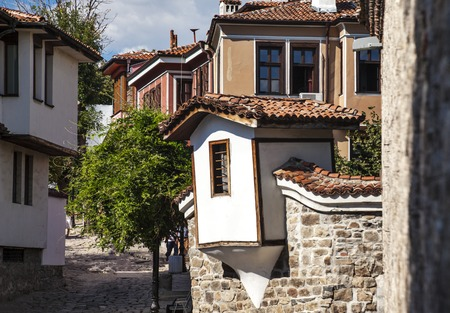 View of houses in old town of Plovdiv, Bulgaria, Europe.
