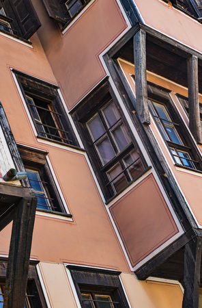 Windows of a typical house in old town of Plovdiv, Bulgaria, Europe. National heritage.