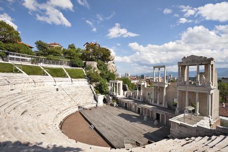 Een weergave van het Romeinse amfitheater in de oude stad van Plovdiv, Bulgarije, Europa. Stockfoto