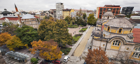 A horizontal view of downtown Sofia with the synagogue, the mosque and the Museum of sofia history, from left to right in a cloudy autumn day. Stock Photo