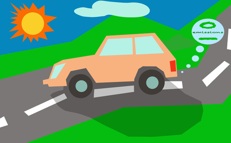 zero emission: A zero emission eco car on a countryside road under the sun.
