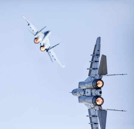 Two Fast Fighter Jets Battle