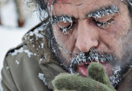 Freezing Man Snow Winter