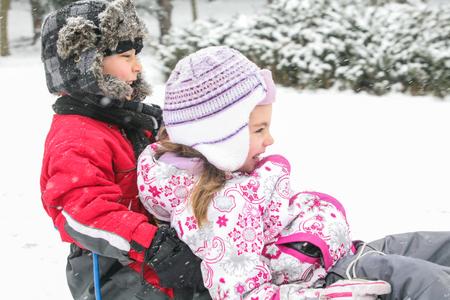 Two Kids Happy Snow