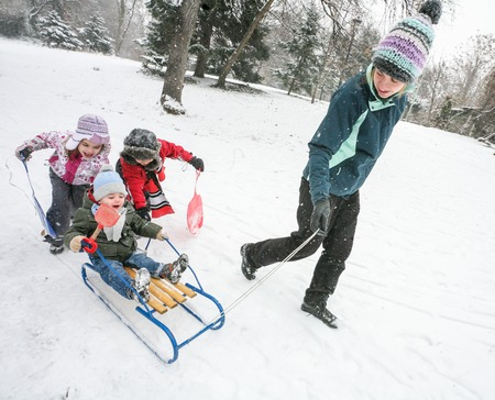 Mother Kids Snow Fun Sled