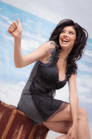 Hitchhiking Girl Laughing Banco de Imagens