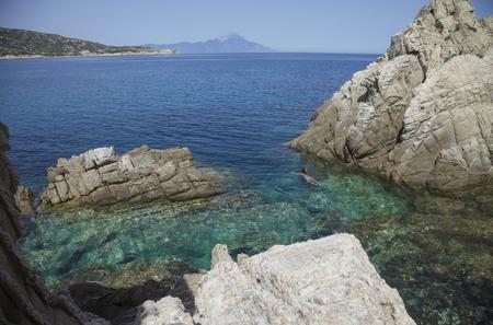 Sea Athos Greece Lagoon Banco de Imagens