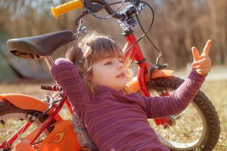 Girl Bike Spring Autumn Banco de Imagens