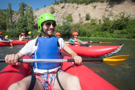 Happy Rafting Canoe Stock Photo