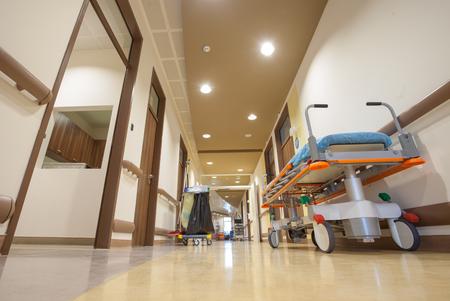 Hospital Corridor Litter Bed Stock Photo