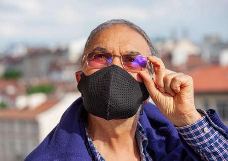 Senior Man Mask Virus Pandemic Glasses