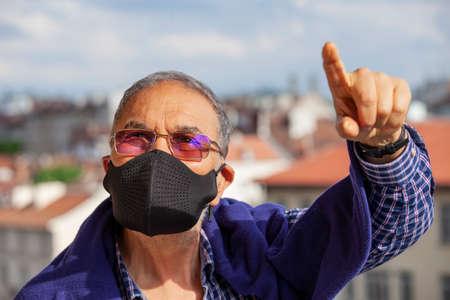 Senior Man Mask Protection Mask Pandemic Pointing