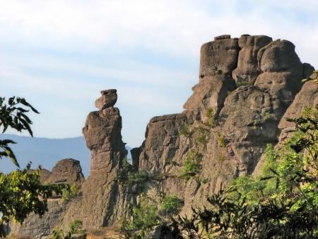 bulgaria girl: Belogradchik rocks in rocks formation, Bulgaria Stock Photo